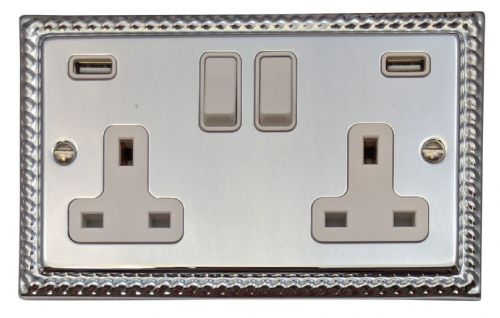 G&H MC910W Monarch Roped Polished Chrome 2 Gang Double 13A Switched Plug Socket 2.1A USB